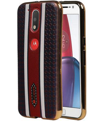 M-Cases Bruin Ruit Design TPU voor Hoesje voor Motorola Moto G4 / G4 Plus