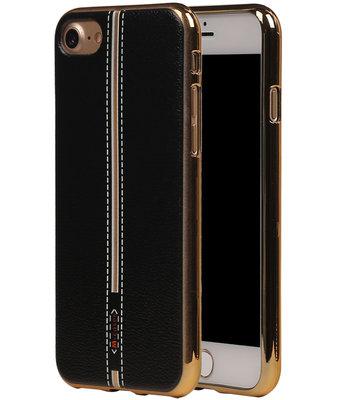 M-Cases Zwart Leder Design TPU back case hoesje voor Apple iPhone 7 / 8