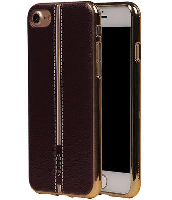 M-Cases Bruin Leder Design TPU back case hoesje voor Apple iPhone 7 / 8