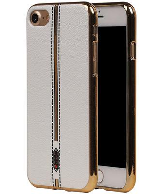 M-Cases Wit Leder Design TPU back case voor Hoesje voor Apple iPhone 7 / 8