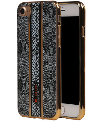 M-Cases Zwart Slang Design TPU back case voor Hoesje voor Apple iPhone 7 / 8