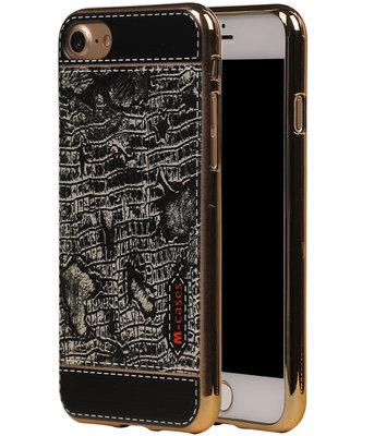 M-Cases Zwart Krokodil Design TPU back case voor Hoesje voor Apple iPhone 7 / 8