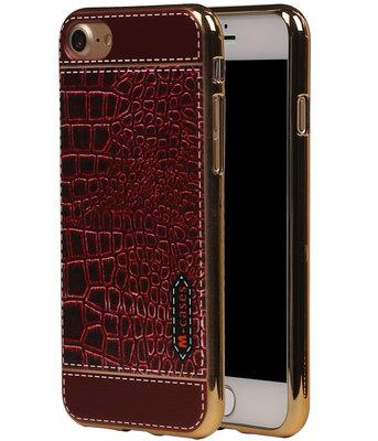 M-Cases Bruin Krokodil Design TPU back case voor Hoesje voor Apple iPhone 7 / 8