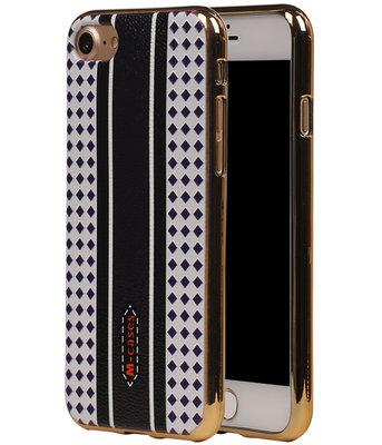 M-Cases Bruin Paars Ruit Design TPU back case voor Hoesje voor Apple iPhone 7 / 8