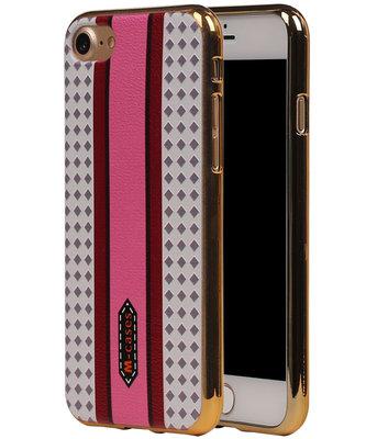M-Cases Roze Paars Ruit Design TPU back case voor Hoesje voor Apple iPhone 7 / 8