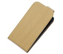 Beige Hout Classic flip case voor Hoesje voor Apple iPhone 4 / 4S