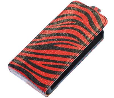 Rood Zebra Flip case voor Hoesje voor Apple iPhone 4 / 4S