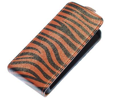Donker Bruin Zebra Flip case voor Hoesje voor Apple iPhone 4 / 4S