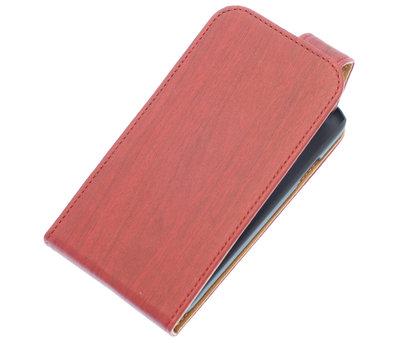 Rood Hout Classic flip case voor Hoesje voor Apple iPhone 5 / 5S / SE