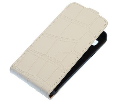 Wit Krokodil Flip case voor Hoesje voor Apple iPhone 5 / 5S / SE