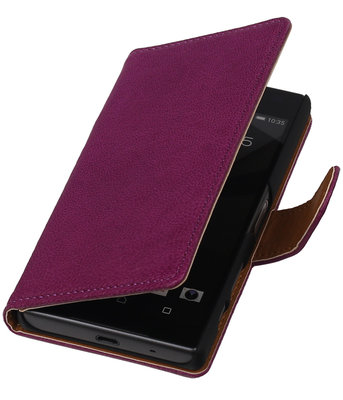Paars Echt Leer Booktype Sony Experia Z5 Compact Wallet Cover Hoesje