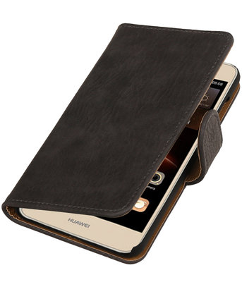 Grijs Hout booktype wallet cover hoesje voor Huawei Y6 II Compact