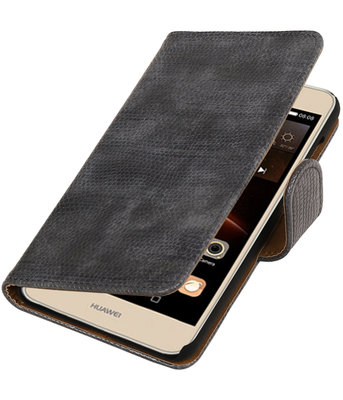Grijs Mini Slang booktype wallet cover hoesje voor Huawei Y6 II Compact