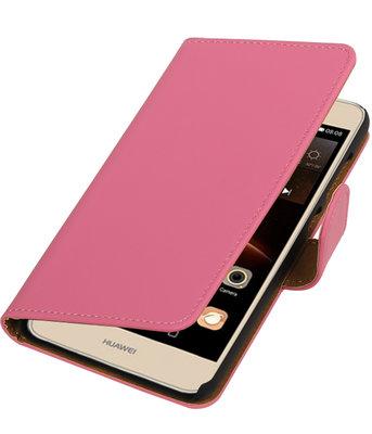 Roze Effen booktype wallet cover hoesje voor Huawei Y6 II Compact