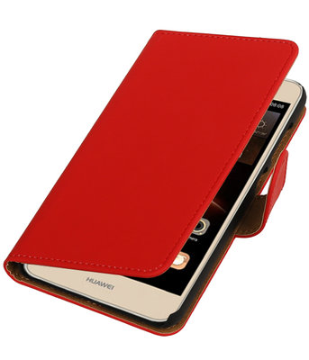 Rood Effen booktype wallet cover hoesje voor Huawei Y6 II Compact