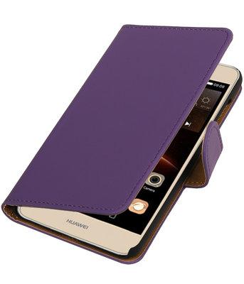 Paars Effen booktype wallet cover hoesje voor Huawei Y6 II Compact