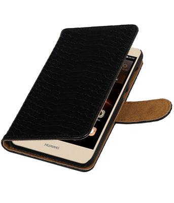 Zwart Slang booktype wallet cover hoesje voor Huawei Y6 II Compact