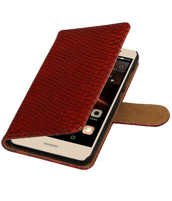 Rood Slang booktype wallet cover hoesje voor Huawei Y6 II Compact