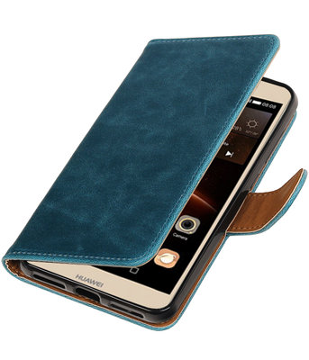 Blauw Pull-Up PU booktype wallet voor Hoesje voor Huawei Y6 II Compact