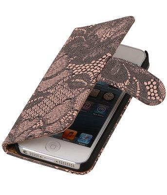 Roze Lace 2 booktype wallet cover hoesje voor Apple iPhone 5 / 5s / SE