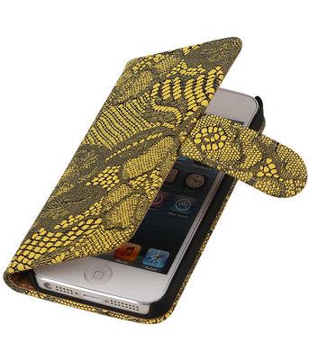Geel Lace 2 booktype wallet cover hoesje voor Apple iPhone 5 / 5s / SE