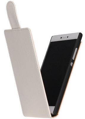 Wit Effen Classic Flip case voor Hoesje voor Huawei Ascend Y550