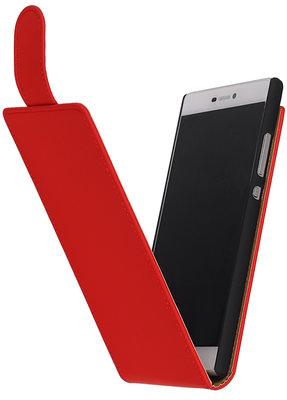 Rood Effen Classic Flip case voor Hoesje voor Huawei Ascend Y600