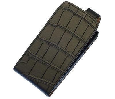 Zwart Krokodil Classic Flip case voor Hoesje voor Huawei Ascend Y600