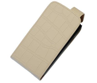 Wit Krokodil Classic Flip case voor Hoesje voor Sony Xperia E1