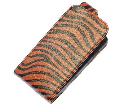 Donker Bruin Zebra Classic Flip case voor Hoesje voor Nokia Lumia 620