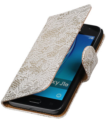 Wit Lace booktype cover hoesje voor Samsung Galaxy J1 2015