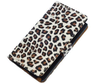 Bruin Luipaard booktype wallet cover voor Hoesje voor Huawei Ascend G700