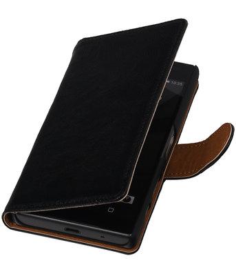 Zwart Echt Leer Leder booktype wallet hoesje voor Huawei Y5 II
