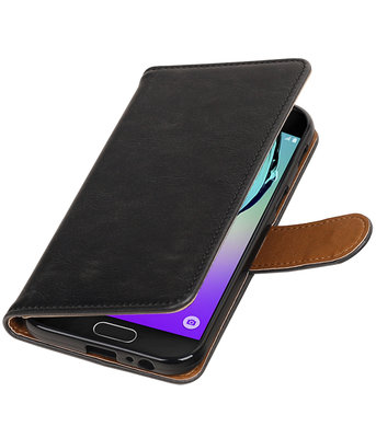 Zwart Pull-Up PU booktype wallet cover hoesje voor Samsung Galaxy A3 2017