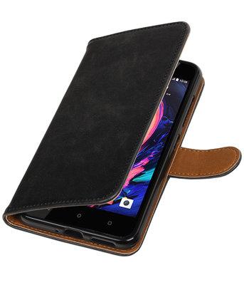 Zwart Pull-Up PU booktype wallet cover hoesje voor HTC Desire 10 Pro