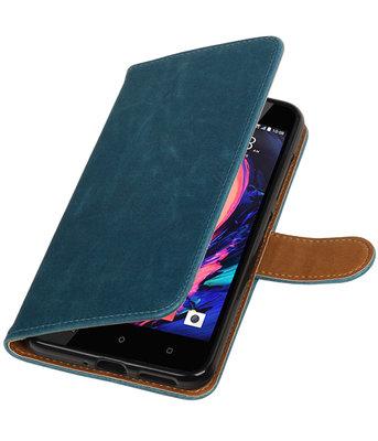 Blauw Pull-Up PU booktype wallet cover hoesje voor HTC Desire 10 Pro