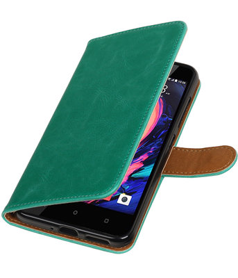 Groen Pull-Up PU booktype wallet cover hoesje voor HTC Desire 10 Pro