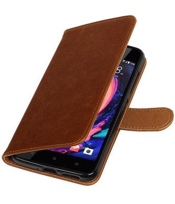 Bruin Pull-Up PU booktype wallet cover hoesje voor HTC Desire 10 Pro