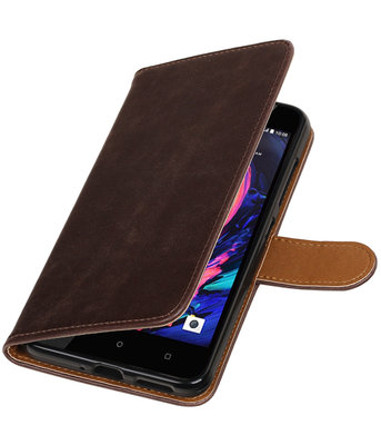 Mocca Pull-Up PU booktype wallet cover hoesje voor HTC Desire 10 Pro