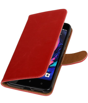 Rood Pull-Up PU booktype wallet cover hoesje voor HTC Desire 10 Pro