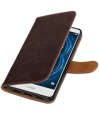 Mocca Pull-Up PU booktype wallet cover voor Hoesje voor Huawei Honor 6x 2016