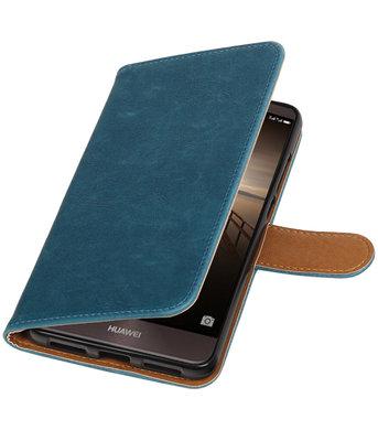 Blauw Pull-Up PU booktype wallet cover voor Hoesje voor Huawei Mate 9