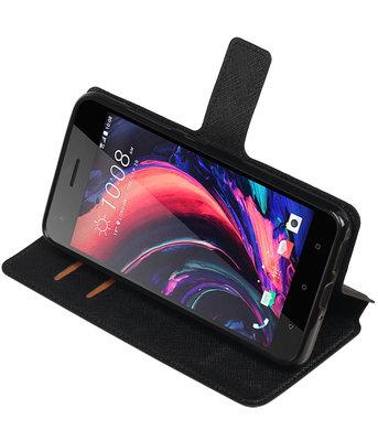 Zwart HTC Desire 10 Pro TPU wallet case booktype hoesje HM Book
