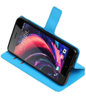 Blauw Hoesje voor HTC Desire 10 Pro TPU wallet case booktype HM Book