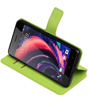 Groen HTC Desire 10 Pro TPU wallet case booktype hoesje HM Book