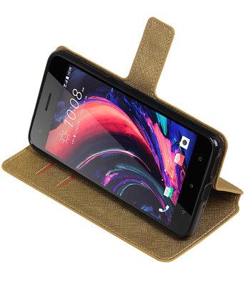 Goud Hoesje voor HTC Desire 10 Pro TPU wallet case booktype HM Book