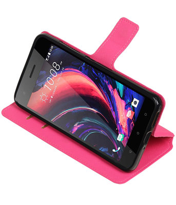 Roze Hoesje voor HTC Desire 10 Pro TPU wallet case booktype HM Book