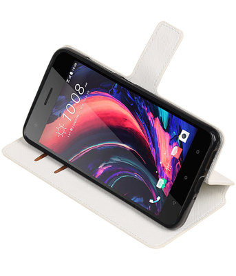 Wit Hoesje voor HTC Desire 10 Pro TPU wallet case booktype HM Book