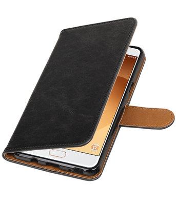 Zwart Pull-Up PU booktype wallet cover voor Hoesje voor Samsung Galaxy C9