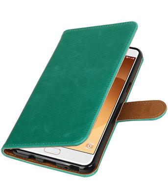 Groen Pull-Up PU booktype wallet cover voor Hoesje voor Samsung Galaxy C9